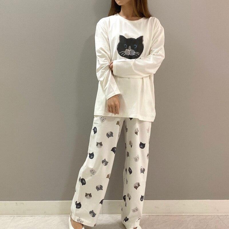 طقم نوم بيجامة نسائي ملابس نوم قطنية للنساء برقبة دائرية ورقبة مستديرة للخريف بيجاما بيضاء من قطعتين طقم بيجاما قميص نوم