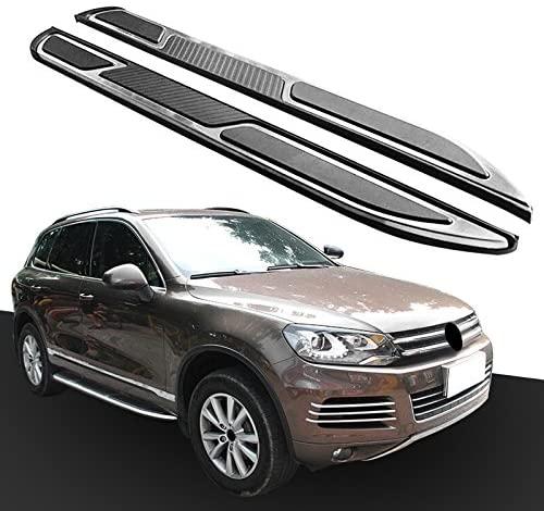2Pcs Fit for VW- Volkswagen- Touareg- 2010-2018 Door Side Step Nerf Bar Running Board Protector - Black & Silver
