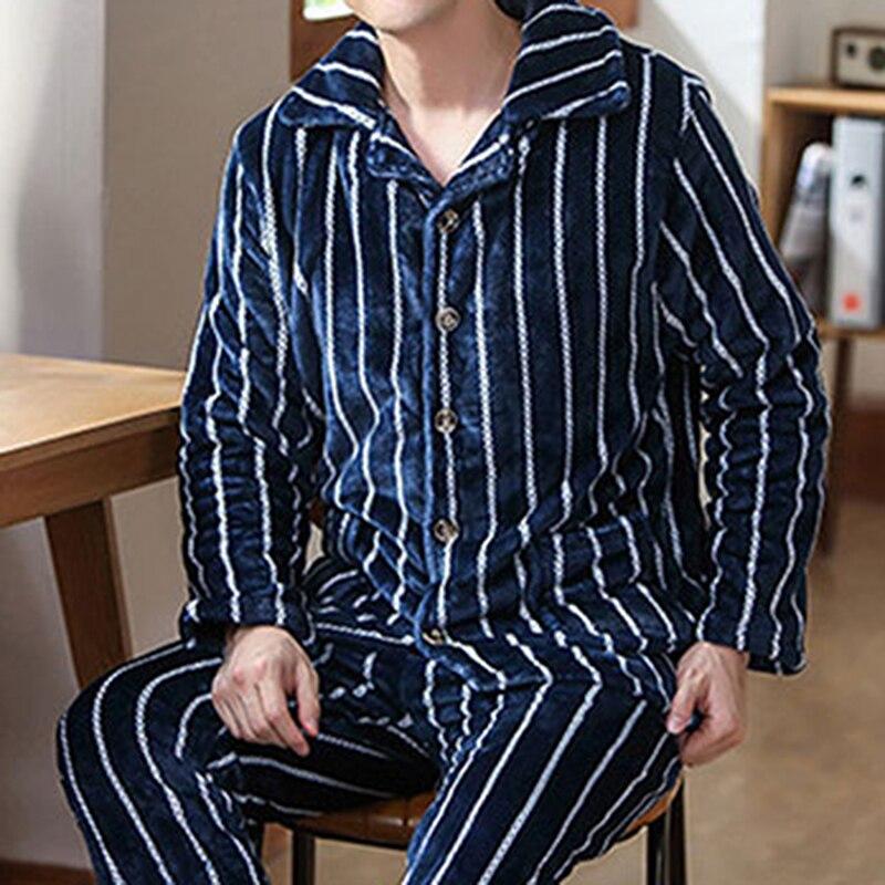Осень зима толстая теплая фланель пижама комплекты для мужчин длинный рукав коралловый бархат одежда для сна костюм домашняя одежда домашняя одежда дом одежда