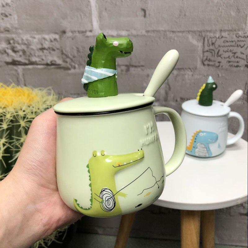 EWAYS Cute 3D Taza de cerámica de dinosaurio creativa de gran capacidad taza de leche par de regalos taza de café