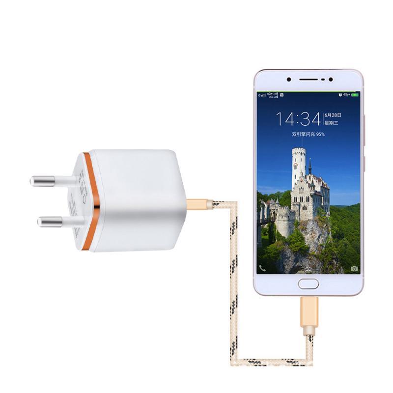 Универсальное зарядное устройство с двумя USB-портами, 2,1 А, быстрая зарядка, вилка стандарта ЕС/США, портативный настенный мобильный телефон, зарядное устройство для IPhone, Huawei-5