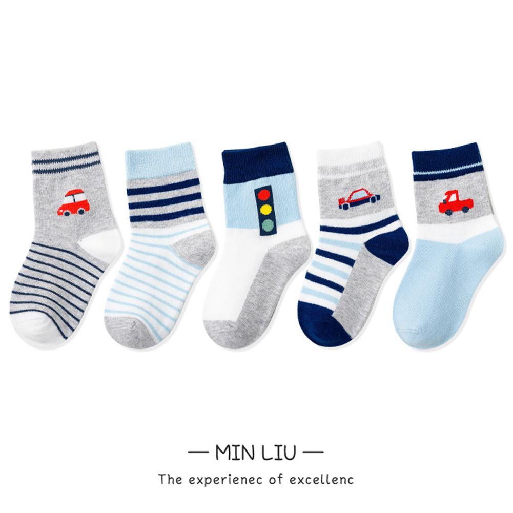 MISSKY 5 par/set primavera otoño calcetines para niños bonitos calcetines de algodón de longitud media con patrón de dibujos animados para niños y niñas