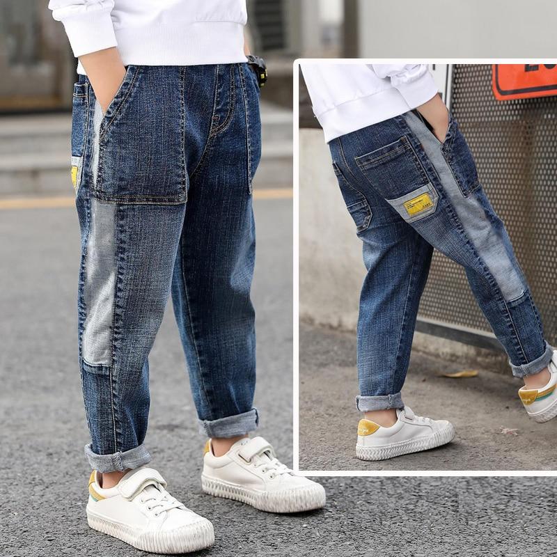 IENENS Kids Boys Jeans Loose Pants Denim Clothing Children Fashion Boy Casual Bowboy Long Trousers  5-13Y