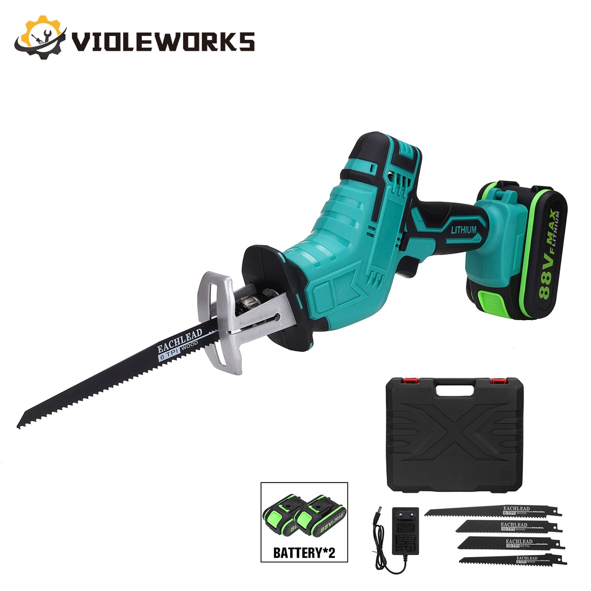 NEW 88V Cordless Reciprocating Saw Handsaw Saber Multifunction for Metal Wood Pipe Cutting with 4 Blades Kit
