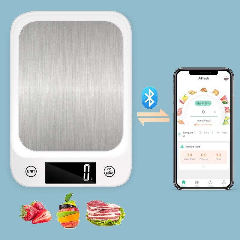 المطبخ ميزان إلكتروني الفولاذ المقاوم للصدأ مقياس ميزان LCD مقياس رقمي حمية التوازن قياس وزن الغذاء للمطبخ