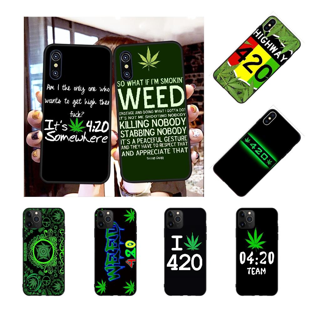 NBDRUICAI 420, funda de teléfono de silicona suave TPU con hojas para fumar hierba para iPhone 11 pro XS MAX 8 7 6 6S Plus X 5S SE XR
