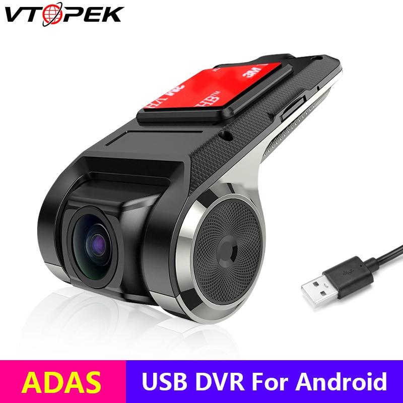 Vtopek Dvr ADAS para coche, cámara Usb Dvr 1080P HD para coche, reproductor de DVD Android, navegación, Audio de coche, alarma de voz LDWS, compatible con tarjeta TF