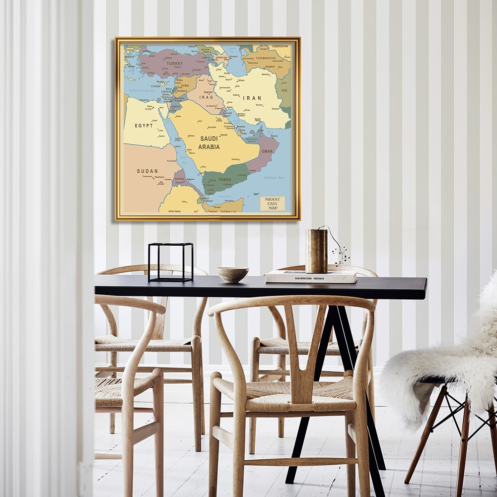 90*90 cm Middle East Political Map Non-woven Canvas Painting Wall Art Poster Living Room Home Decoration School Supplies