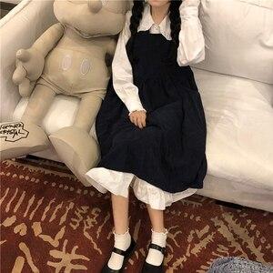 Suspender Dress Small Black Dress Tree Fungus-like Lacework Mori Sweet Dress Female Autumn kawaii clothing sweet lolita dress