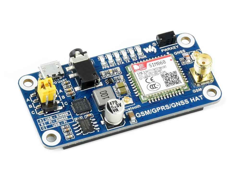 GSM/GPRS/GNSS قبعة على أساس SIM868 لتوت العليق بي منخفضة الطاقة وظائف متعددة الاتصالات GSM ، GPRS ، GNSS وبلوتوث