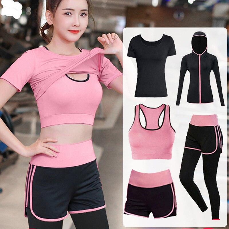 Conjunto esportivo feminino sem costura, roupas fitness para academia corrida 5 peças conjuntos de peças