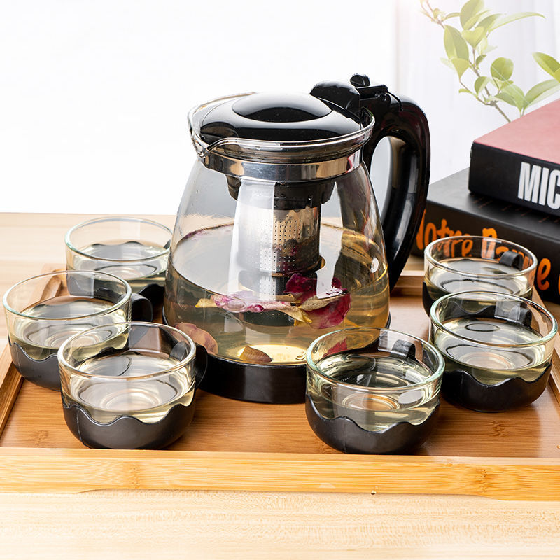 كبيرة مقاومة للحرارة البورسليكات أبريق شاي زجاجي شفاف إبريق شاي بالأعشاب المزهرة مجموعة غلاية العامة مكتب الأدوات المنزلية أواني الشاي
