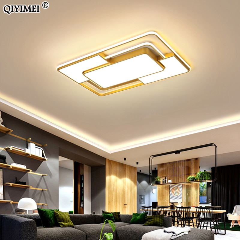 Gold/Black Square New Modern LED Chandelier Lights With Remote Control Dimming For Bedroom Dining Living Room Lamp Home Lighting