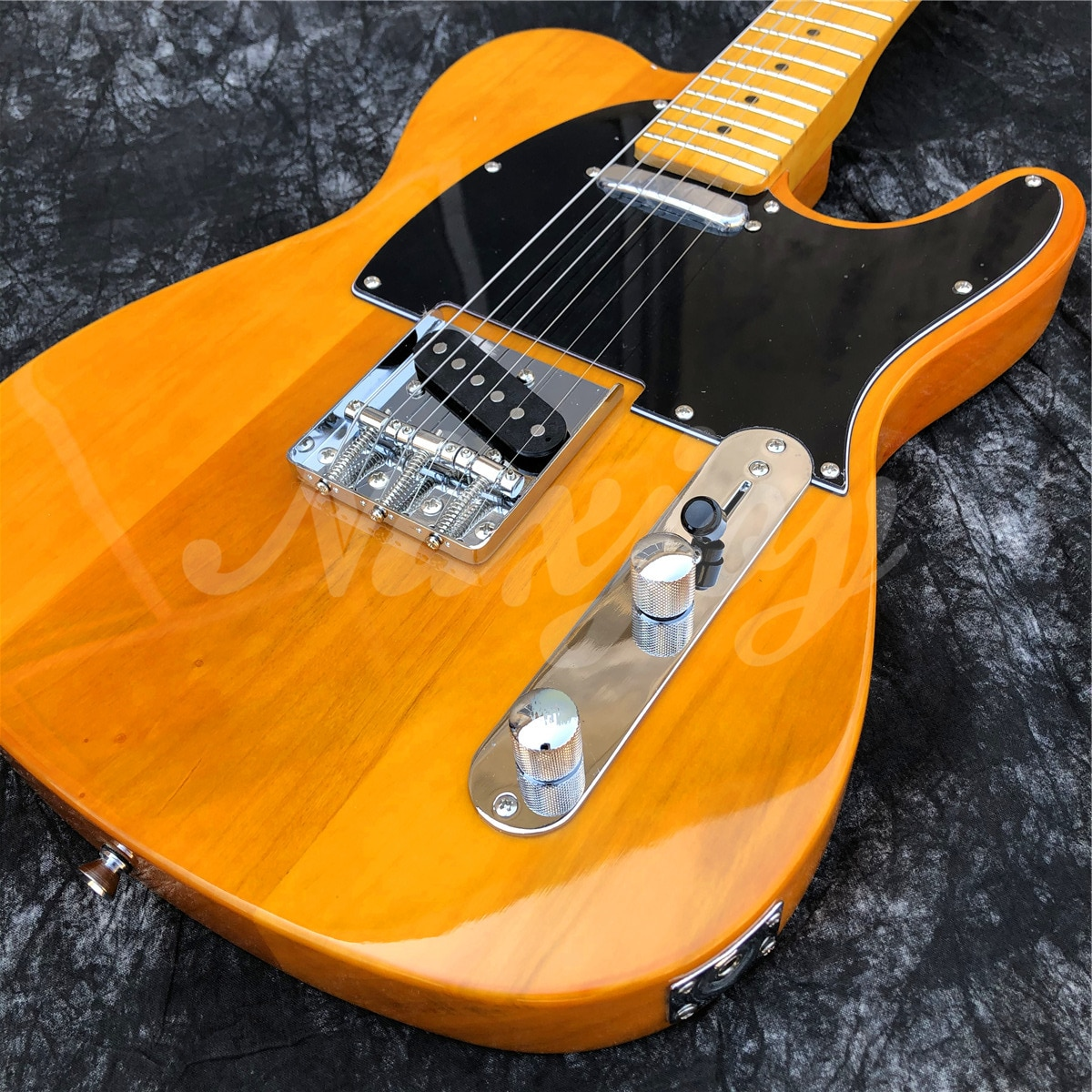 Yellow Solid Wood 6 Strings Electric Guitar,High Quality Maple Neck TL Style Guitarra,Free Shipping enlarge