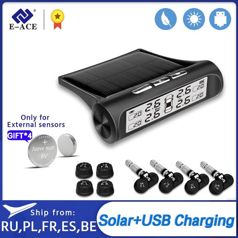 E-ACE TPMS de energía Solar de monitoreo de presión de neumáticos de coche alarma de presión Sistema de Monitor de pantalla inteligente de advertencia de temperatura