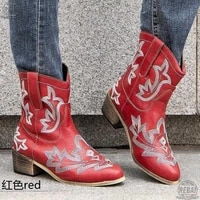 2021 classic embroidered western cowboy boots for women leather cowgirl low heels shoes knee high woman calzado mujer ayakkabi