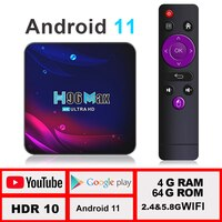 ТВ-приставка H96 MAX, Android 11, 4 + 64 ГБ, 2021/2,4 ГГц, Wi-Fi