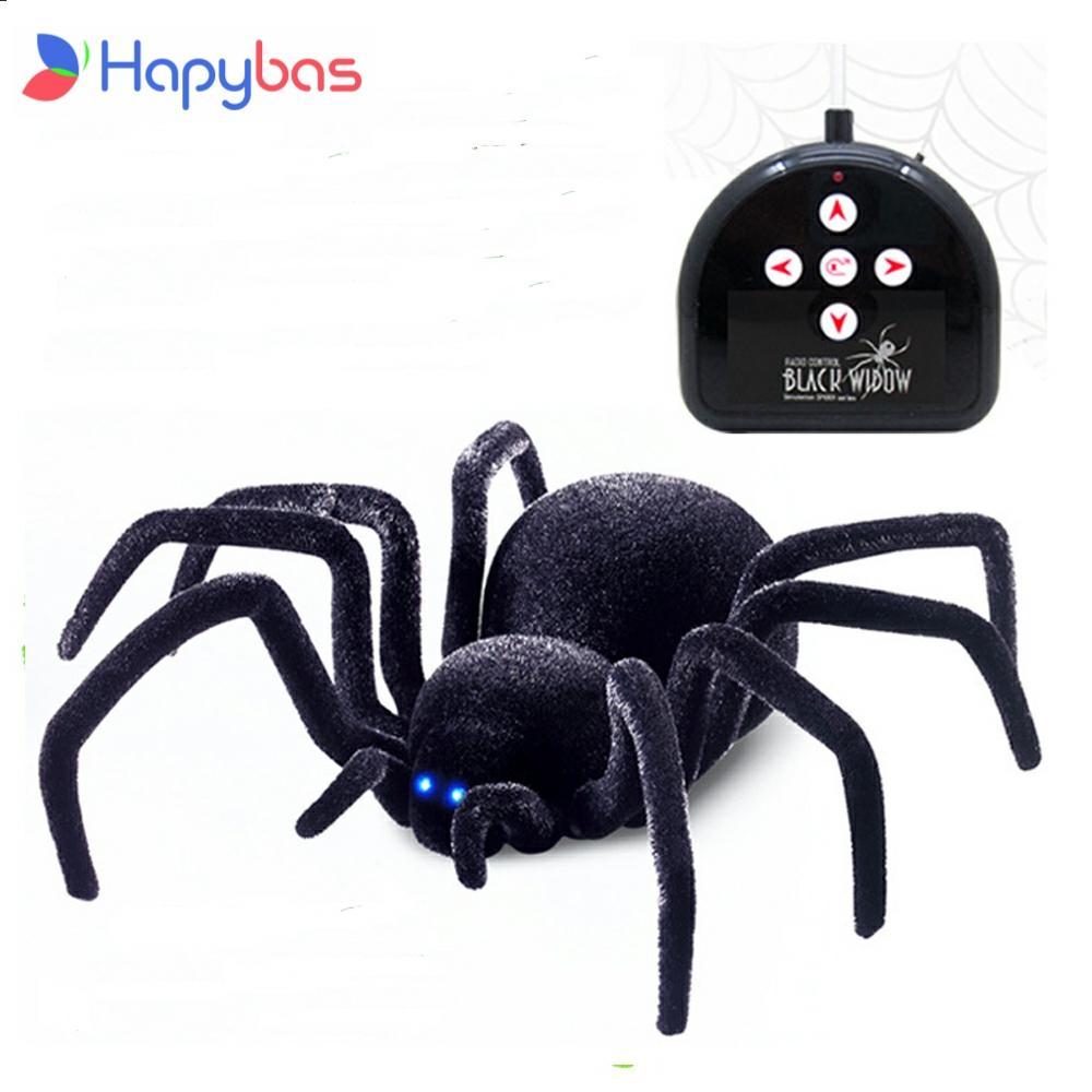 Electronic pet Remote Control Simulation tarantula Eyes Shine smart black Spider 4Ch Halloween RC Tricky Prank Scary Toy gift недорого