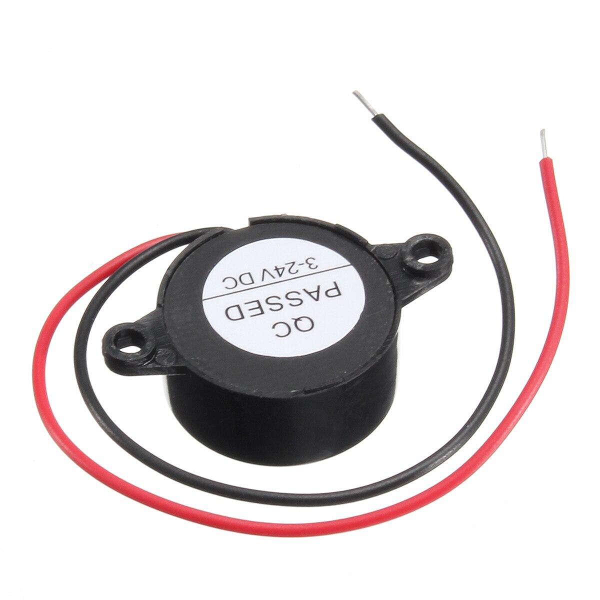 Alarma de 95DB para coche, continuo electrónico-24V DC 3 zumbador, Beeper piezoeléctrico de sonido piezoeléctrico negro para máquinas domésticas