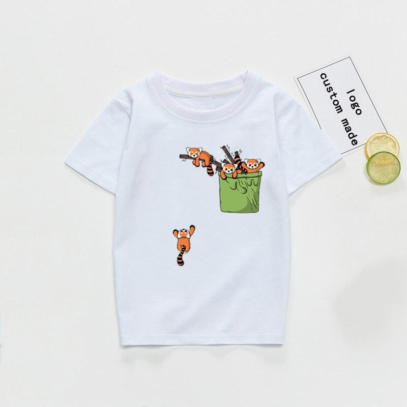 Bolsillo rojo Panda Animal Print niños niñas camisetas niños blanco Camisetas Bebé niños lindos remeras ropa camisa Camiseta Drop Ship