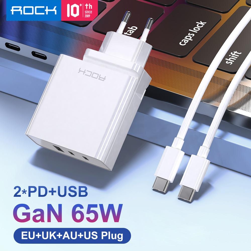 ROCK-شاحن هاتف محمول GaN ، شاحن جداري PD سريع 65 وات لأجهزة iPhone 12 Pro Max Macbook Dell ، 3 منافذ USB Type C QC 4.0 ، لـ Xiaomi
