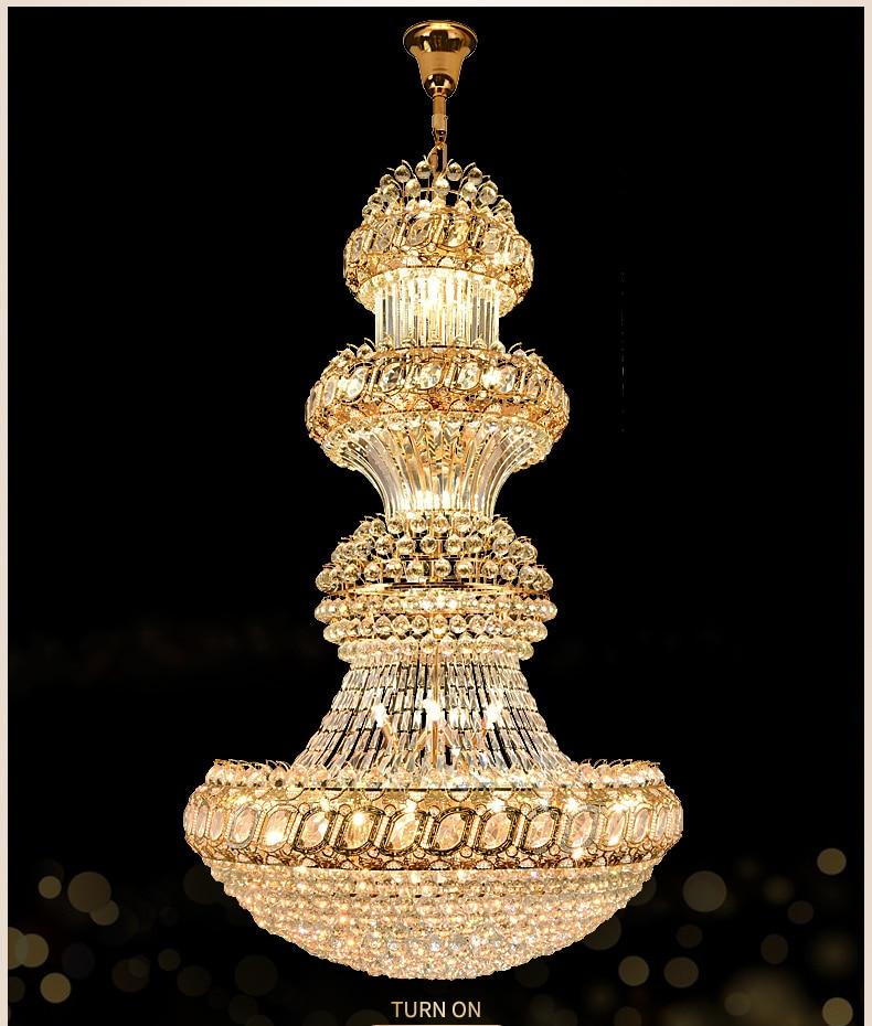 American Modern Crystal Chandelier LED Light Big Long European Crystal Chandeliers Lights Fixture Hotel Home Indoor Lighting