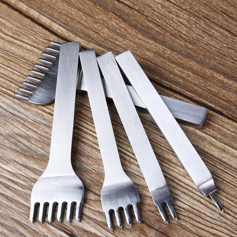 5 stücke Stechen Eisen Punch Gangling Hand Cut Schrägen Loch Leder Stechen nähen taschen brieftasche DIY Werkzeuge, 3/4/5/6mm abstand zahn