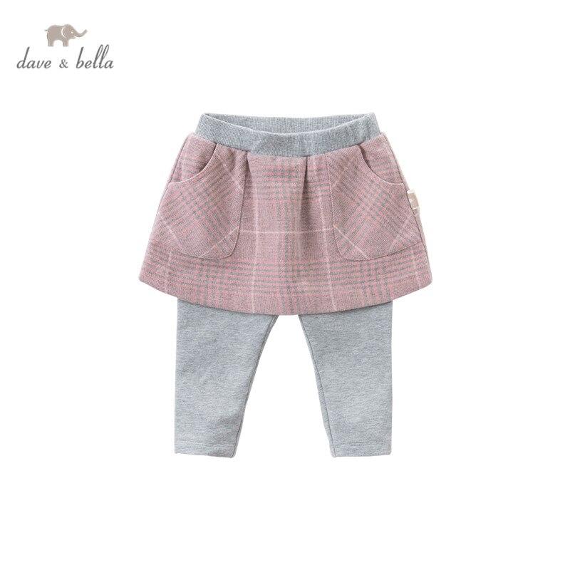 DBJ14538-2 dave bella outono bebê meninas moda xadrez bolsos calças crianças de comprimento total crianças calças infantis da criança