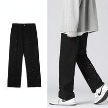 Autumn New Trendy Jeans for Men Paint Dot Splash Ink Loose Straight Casual Korean Fashion Black Deni