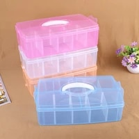 solid color single layer extra large storage box 10 lattice plastic portable storage box removable insert finishing box