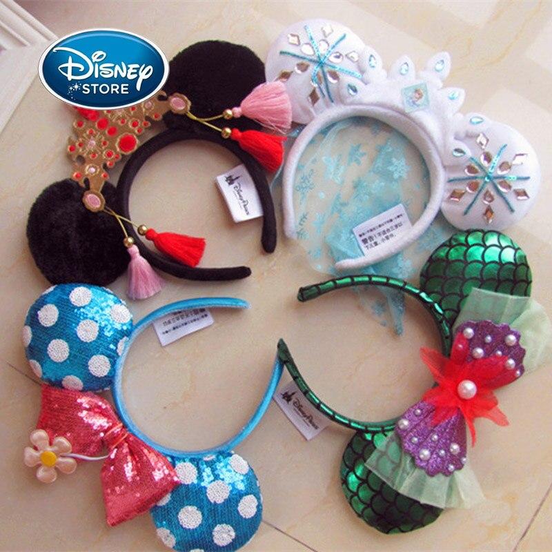 Accesorios para los oídos de Mickey Minnie de Disney, accesorios para el pelo de dibujos animados, juguete de peluche Kawaii, regalo de cumpleaños para niñas, diadema de juguete