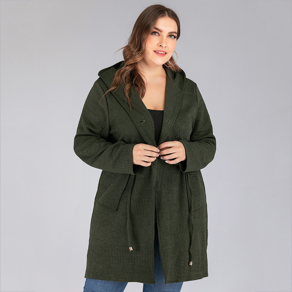 DOIB Exército Verde Plus Size Camisola Mulheres Trench Coat Fugitivo Solto Casual Manga Comprida Tamanho Grande Camisola 4XL