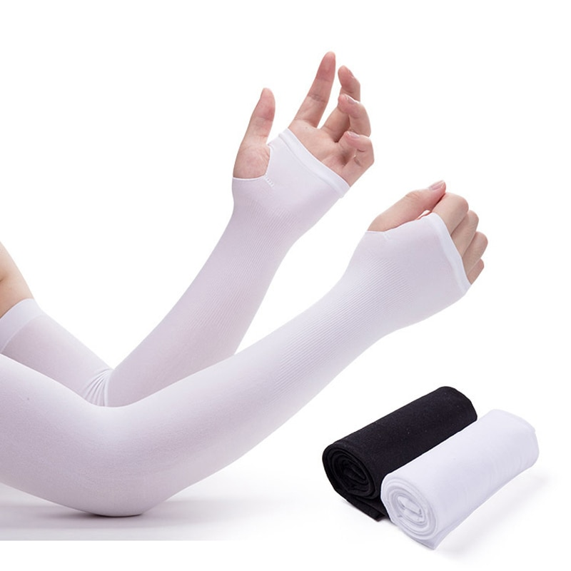arsuxeo compression sleeves arm warmer running sleeves cycling sun uv protection for outdoor sport hiking ciclismo 1 pair Outdoor Cycling Running Sports Finger Sleeves Women Sun UV Compression Arm Sleeves Unisex Soft Breathable Ice Silk ArmWarmers