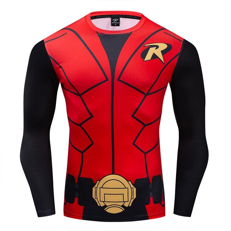Batman ROBIN 2019 gran oferta Fitness camiseta de compresión hombres culturismo manga larga 3D vengadores 4 Infinity War camiseta