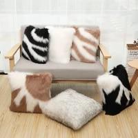 45x45cm zebra pattern soft fur plush cushion cover home decor fluffy pillow covers living room bedroom sofa decor pillowcase