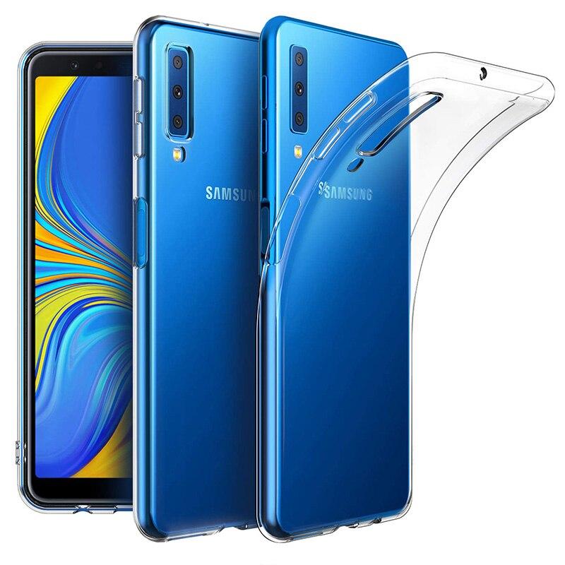 Прозрачные силиконовые чехлы для samsung Galaxy A7 2018, роскошный чехол, Мягкий защитный чехол из ТПУ для камеры, задняя крышка для телефона A72018 A750