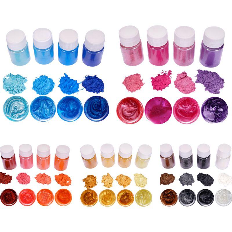 4 unids/set Color mezclado resina joyas de bricolaje artesanía brillante polvo luminoso pigmento conjunto epoxi de cristal Material
