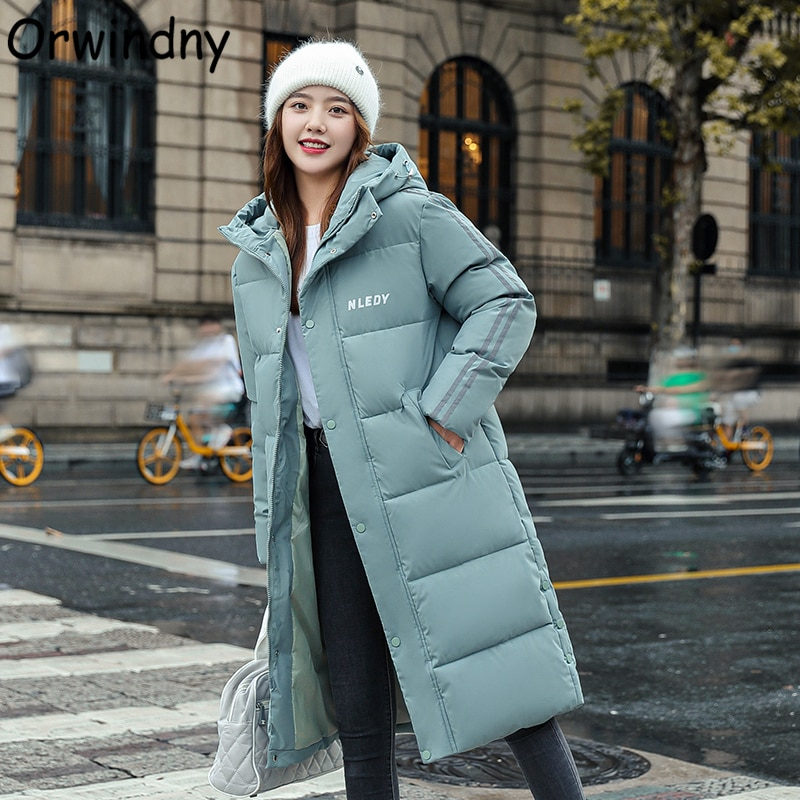 Теплая длинная парка Orwindny, женские зимние утепленные куртки, Женская Новинка 2021, модная одежда с хлопковой подкладкой, уличная зимняя одежд...