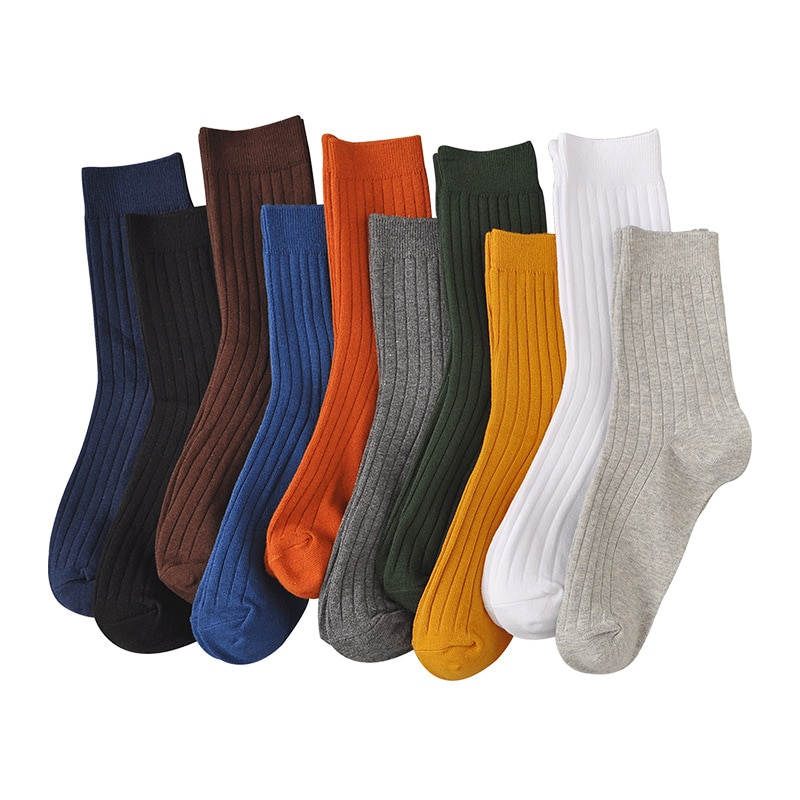 10 Pairs Men's Cotton Socks Solid Simple Business Middle Tube Male Casual Socks Breathable Soft Antifriction Sports Adult Sox
