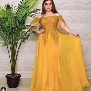 yellow prom dresses 2020 long sleeve beading sequins tassel a line tulle long a line evening dresses gowns