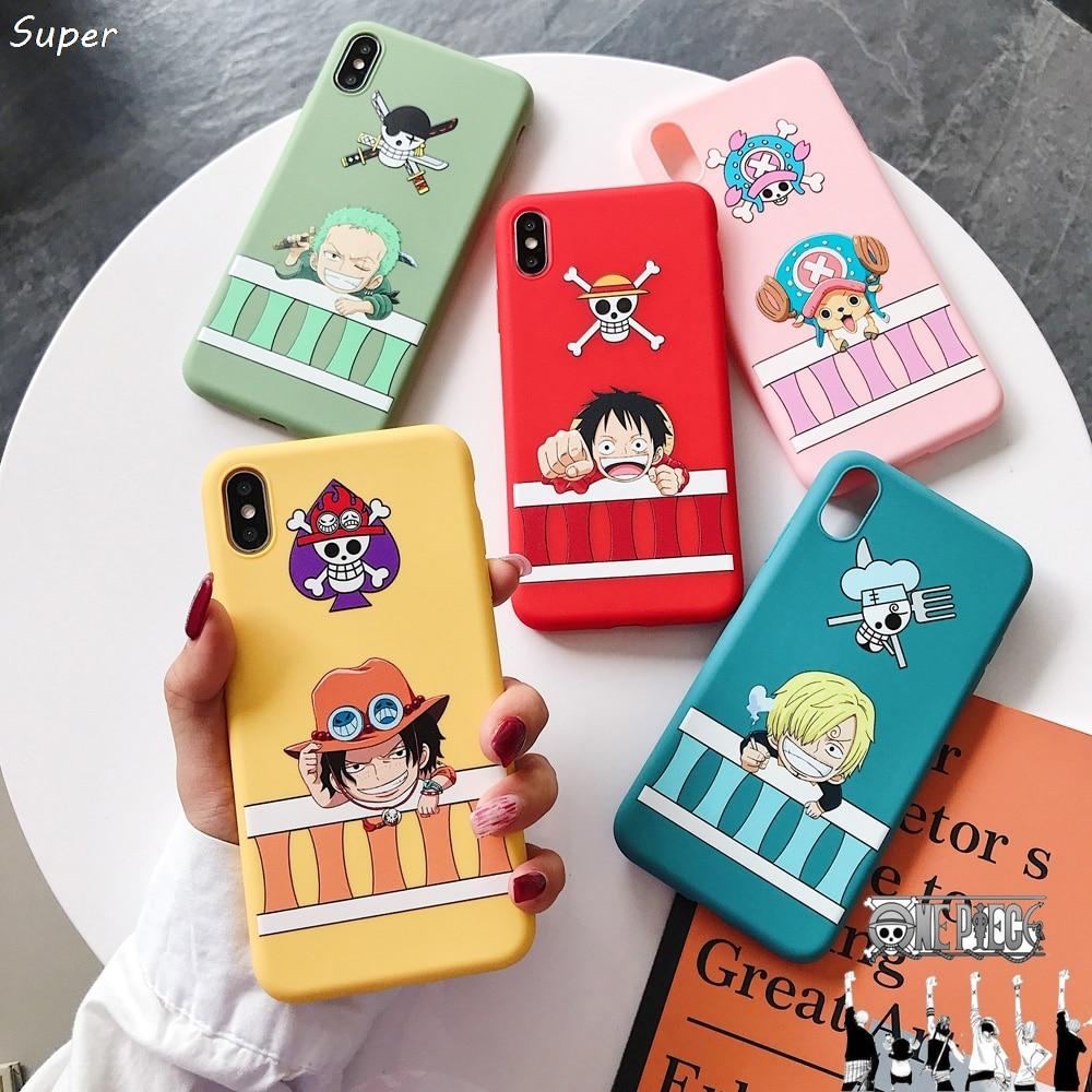 Una pieza Japón Anime Luffy Tony Chopper ACE Candy caso para el iPhone de Apple SE 11 Pro 7 7 6 6S Plus X XS X Max Xr suave de la cubierta del teléfono