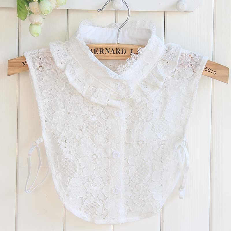 Korean Style Lace Flower Stand Collar White Solid Color Shirt Lapel Blouse Detachable Fake For Women Ladies FS0508