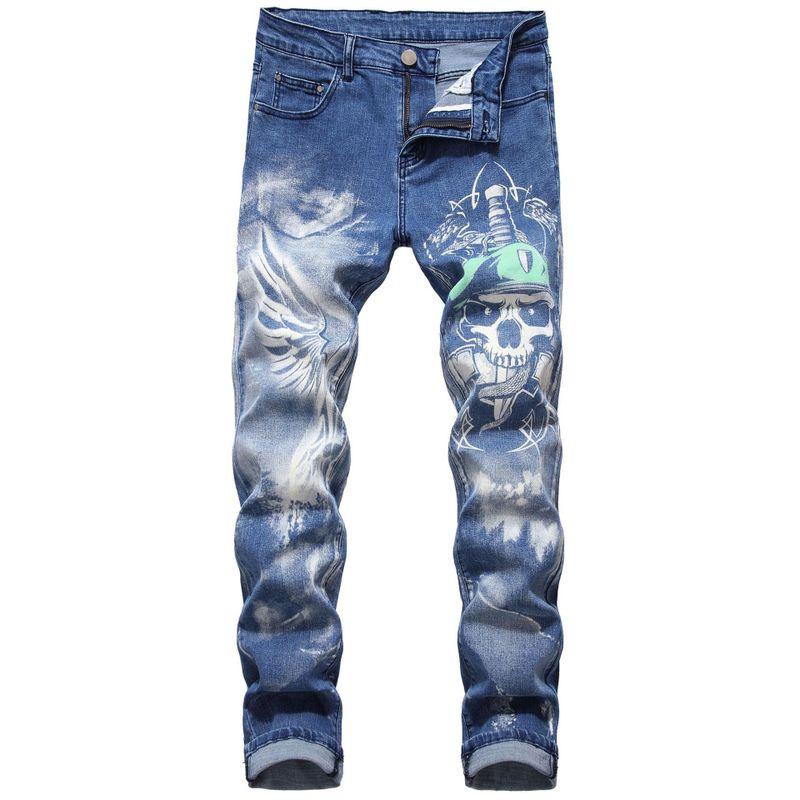 Новое поступление 2020, горячая Распродажа, ковбойские мужские джинсы полной длины, мужские облегающие прямые эластичные джинсы с принтом «Божий Бог», 3d синий череп