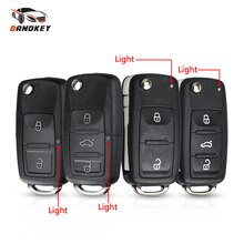 Dandkey 10PCS Remote Flip Key Shell Case For Volkswagen Vw Jetta Golf Passat Beetle Skoda Seat Polo B5 2/3 Buttons Folding Key