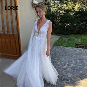 LORIE Cap Sleeve Beach Wedding Dresses 2020 New Design shiny Tulle with Lace Appliqued Boho Bridal Gowns Backless mariage A-line