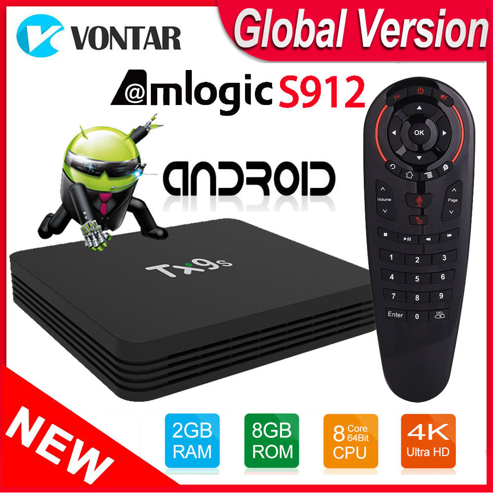 Tanix TX9S Android Smart TV Box Amlogic S912 TVBox Octa Core 2GB 8GB 4K 60fps 2.4G Wifi Set Top Box