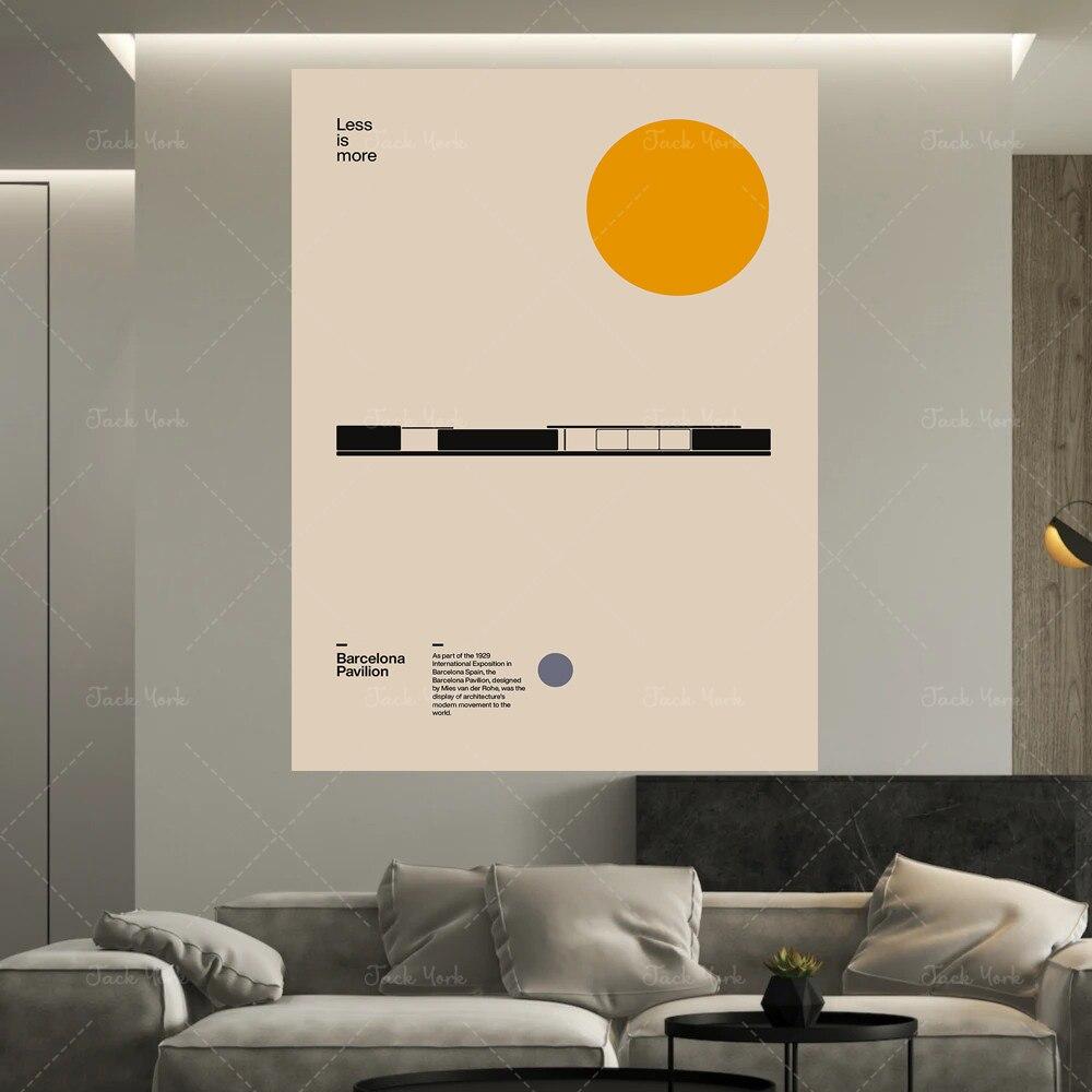 Cartel de Barcelona pabellón Ludwig Mies van der Rohe mínimo arquitectura Bauhaus...