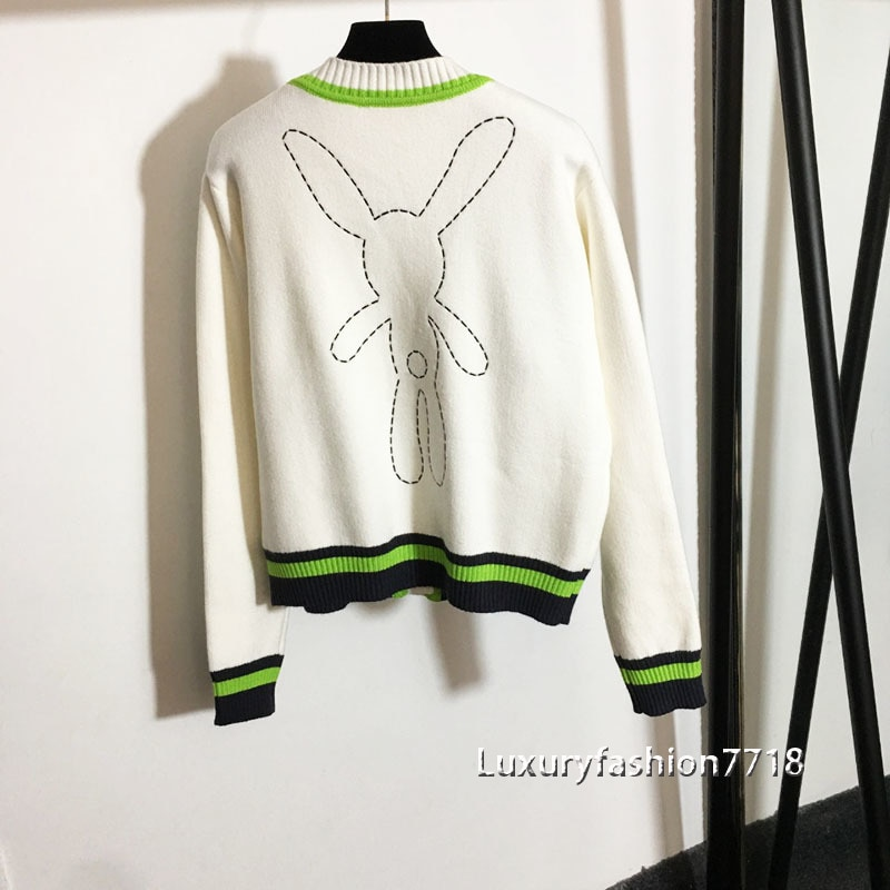 luxury fashion 2021 High Quality Woman Autumn Cardigans Cartoon rabbit  decoration knitted lovely v neck woman cardigan sweater enlarge