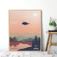 avatar fan retro poster art home decor minimalist aang canvas painting vintage landscape wall pictures for living room no frame