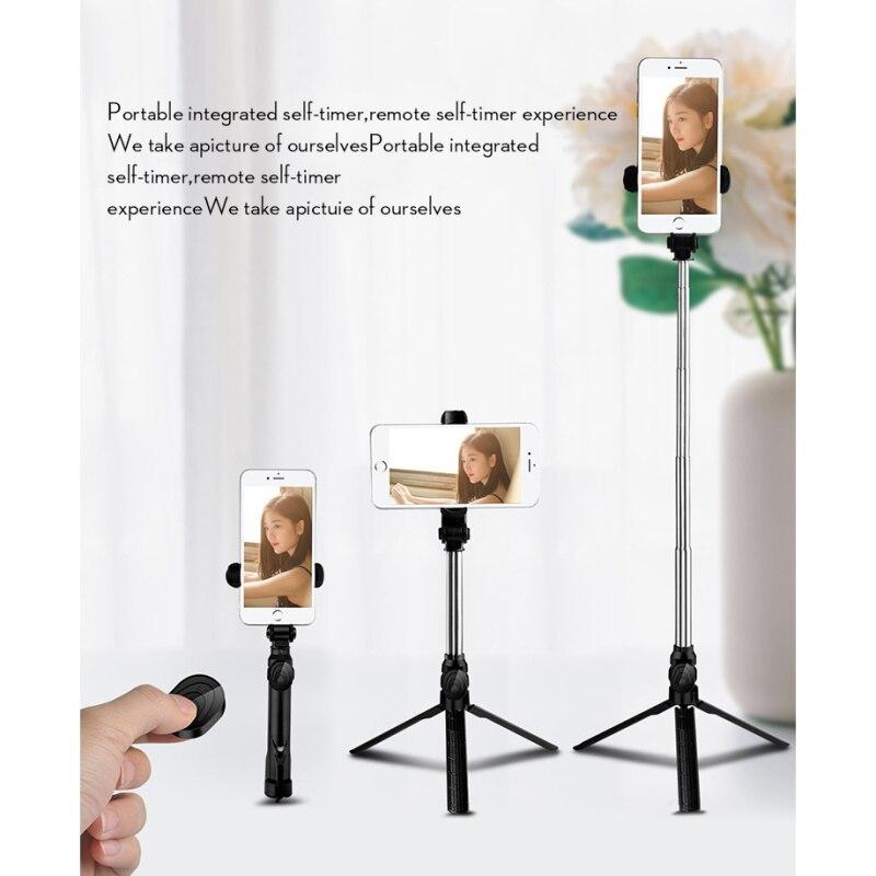 Selfie Vara Bluetooth Selfie Vara Monopé Tripé para Smartphones Rotativo Palo Selfie Tripode Trepied Tripie Telefone Tripé